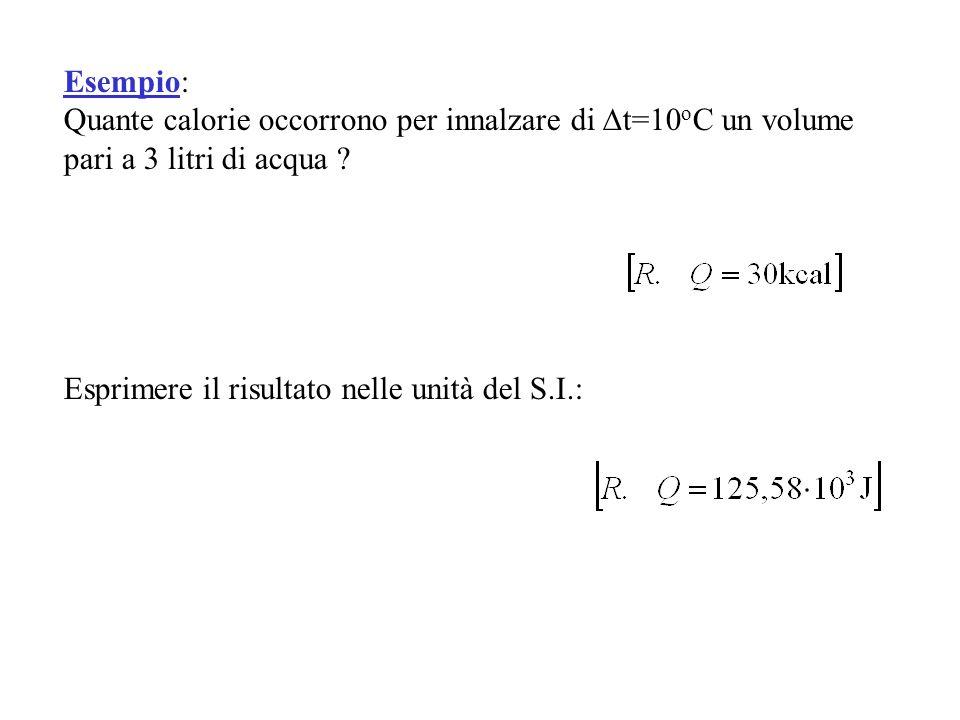Esempio: Quante calorie occorrono per innalzare di t=10oC un volume pari a 3 litri di acqua .
