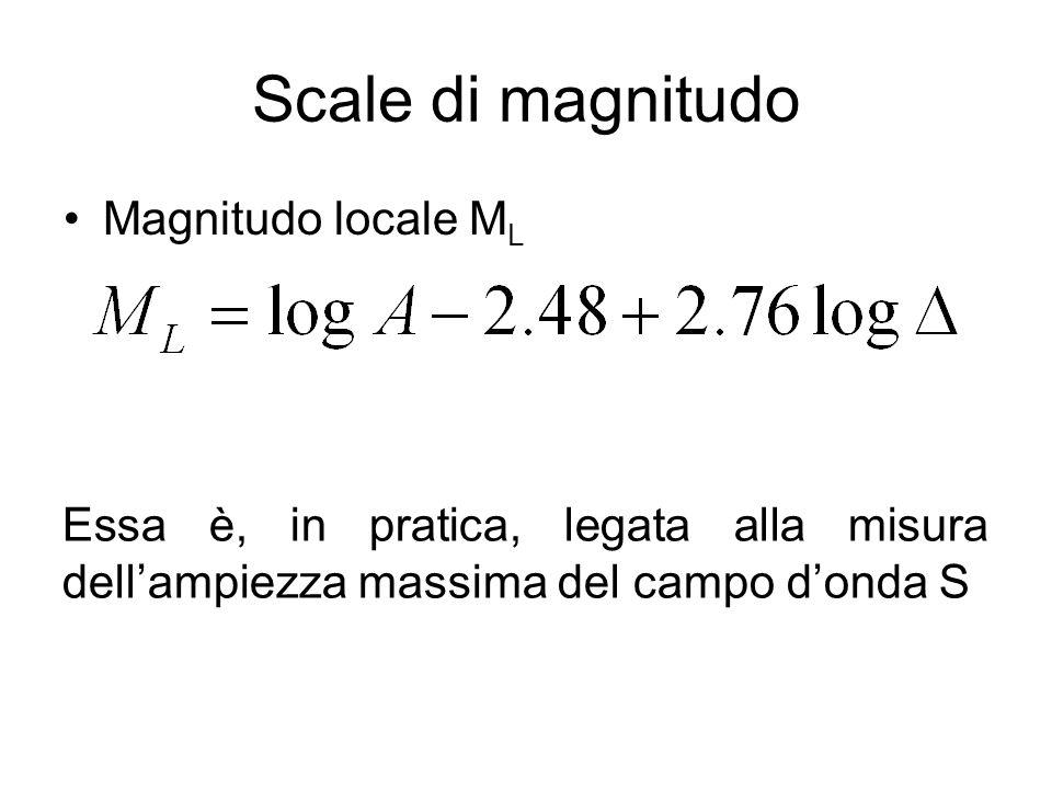Scale di magnitudo Magnitudo locale ML