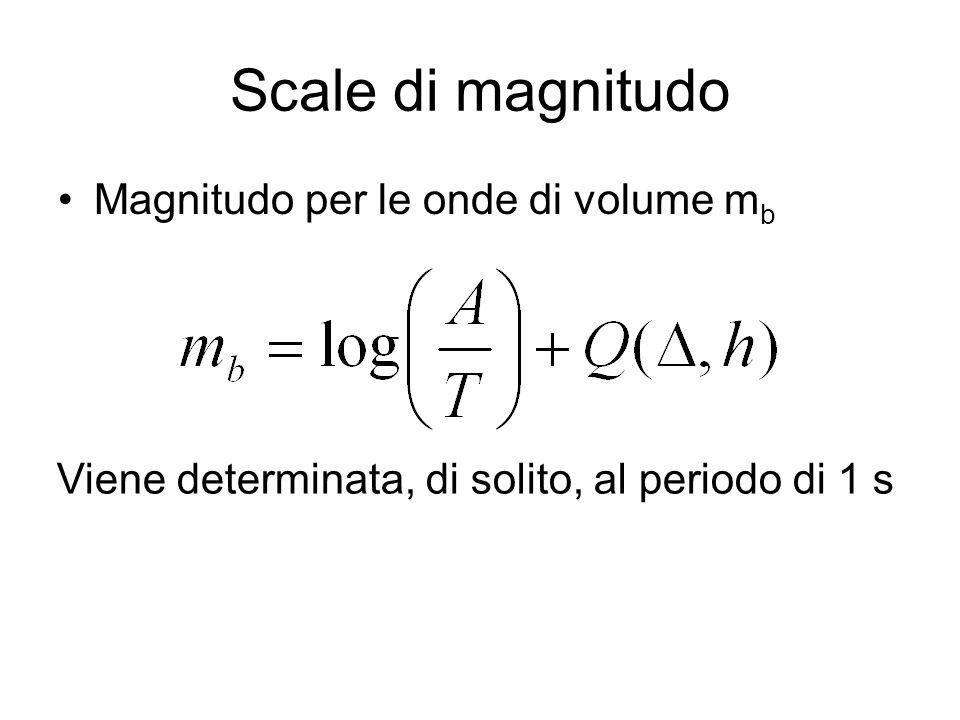 Scale di magnitudo Magnitudo per le onde di volume mb