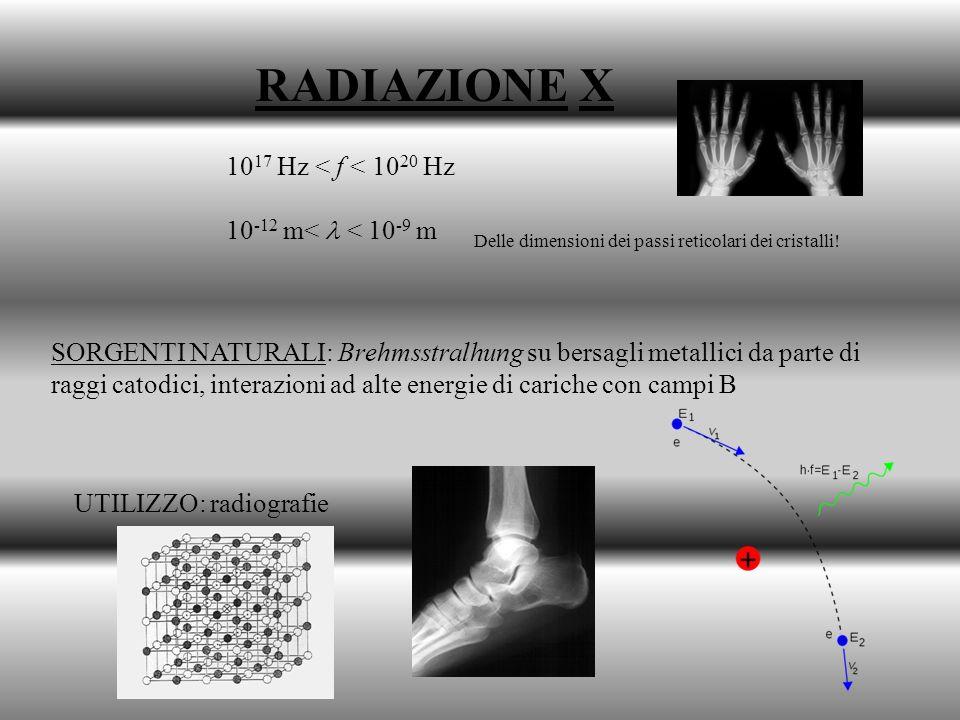 RADIAZIONE X 1017 Hz < f < 1020 Hz 10-12 m<  < 10-9 m