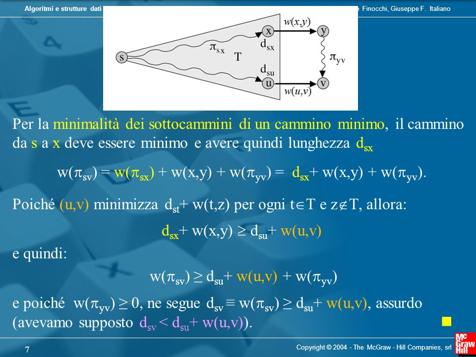 w(sv) = w(sx) + w(x,y) + w(yv) = dsx+ w(x,y) + w(yv).