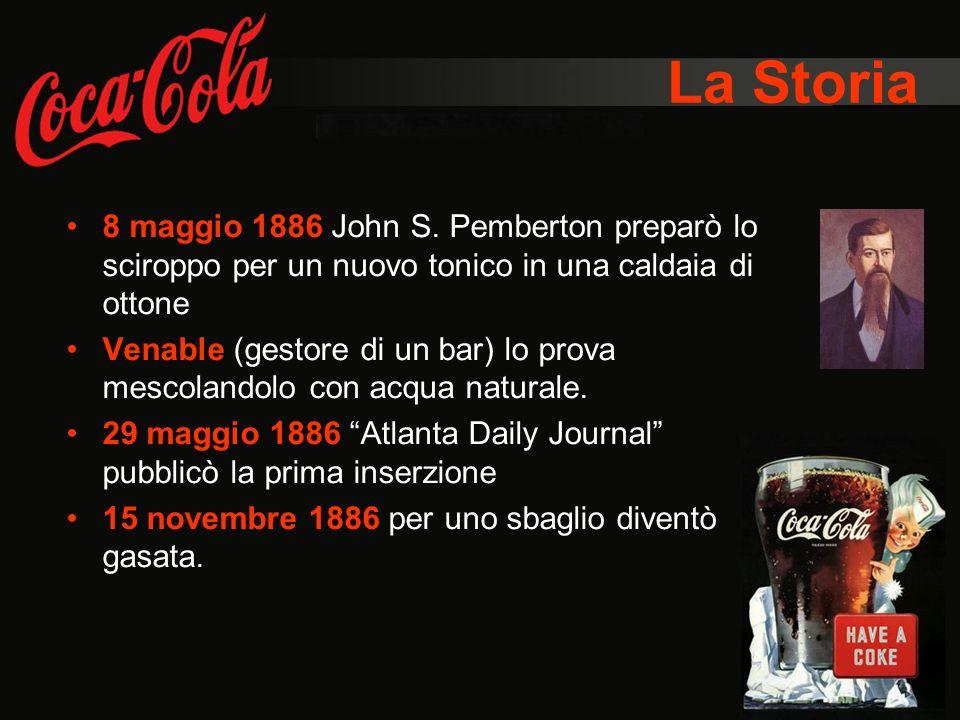 La Storia 8 maggio 1886 John S. Pemberton preparò lo sciroppo per un nuovo tonico in una caldaia di ottone.