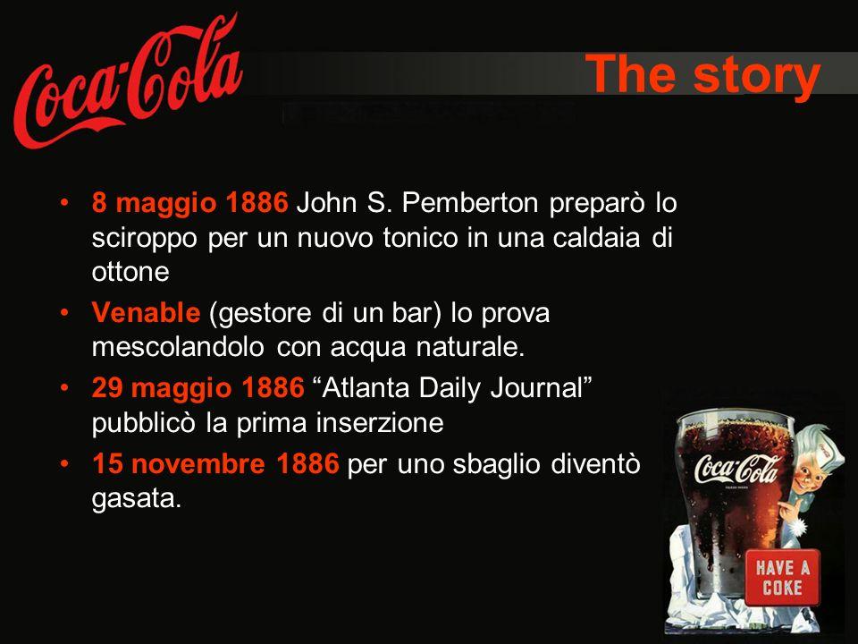 The story 8 maggio 1886 John S. Pemberton preparò lo sciroppo per un nuovo tonico in una caldaia di ottone.