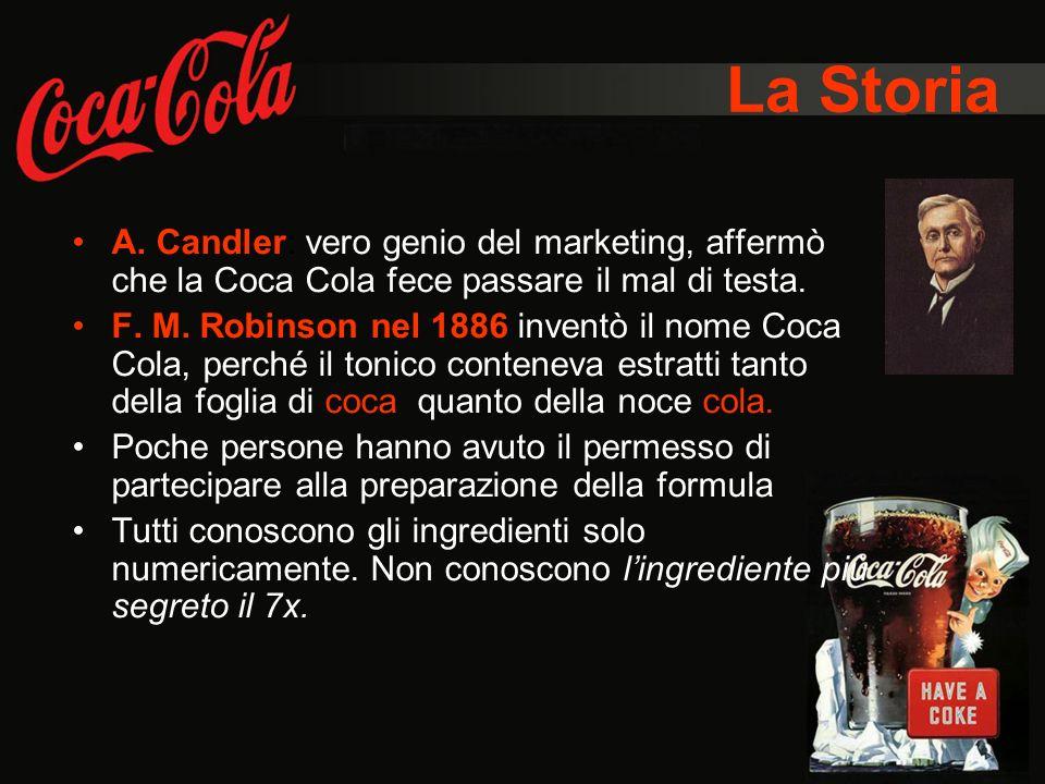La Storia A. Candler: vero genio del marketing, affermò che la Coca Cola fece passare il mal di testa.