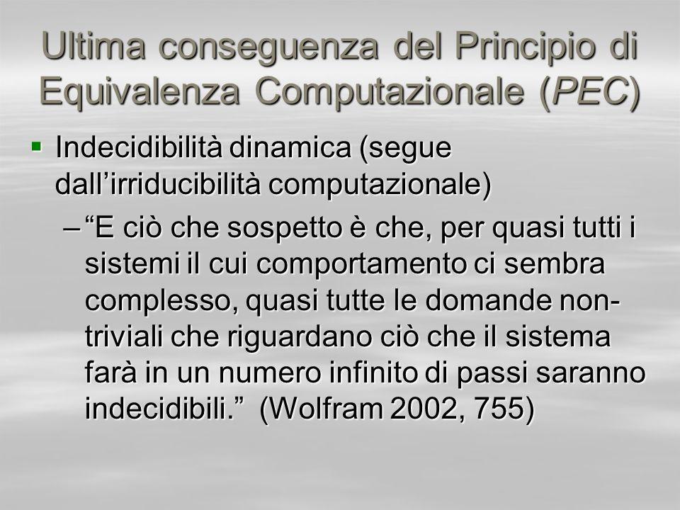 Ultima conseguenza del Principio di Equivalenza Computazionale (PEC)