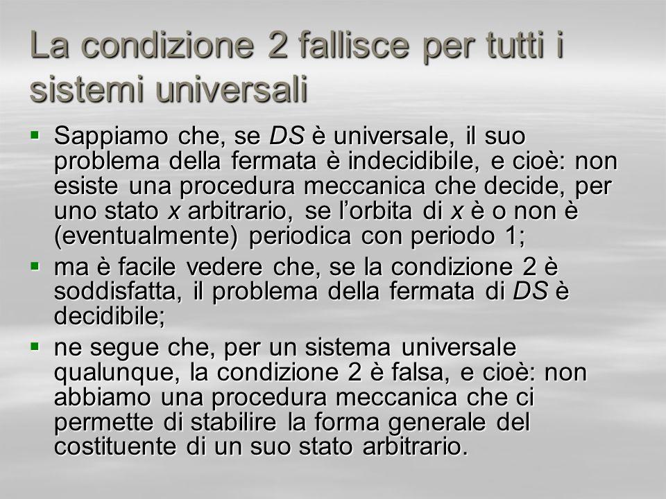 La condizione 2 fallisce per tutti i sistemi universali
