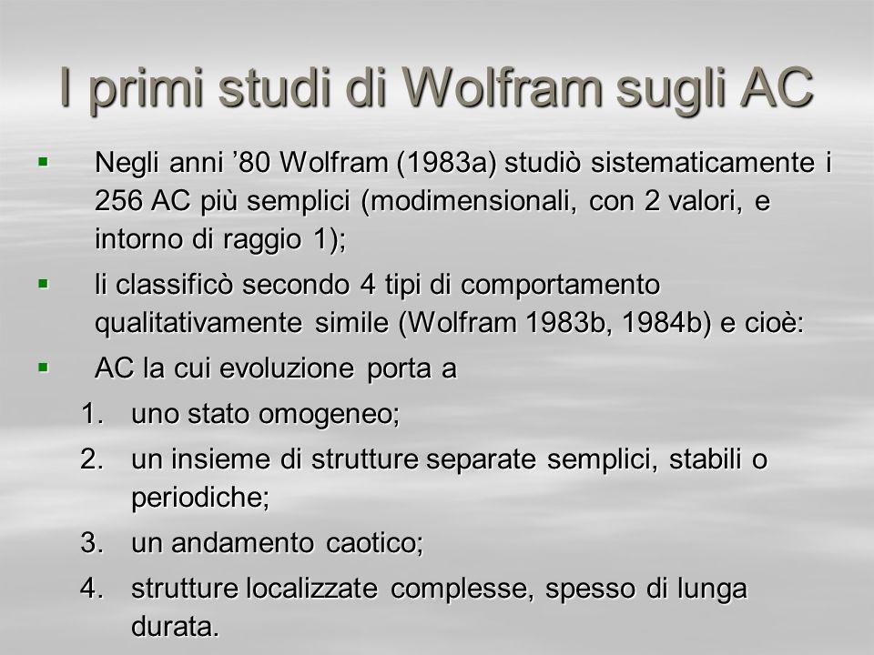 I primi studi di Wolfram sugli AC