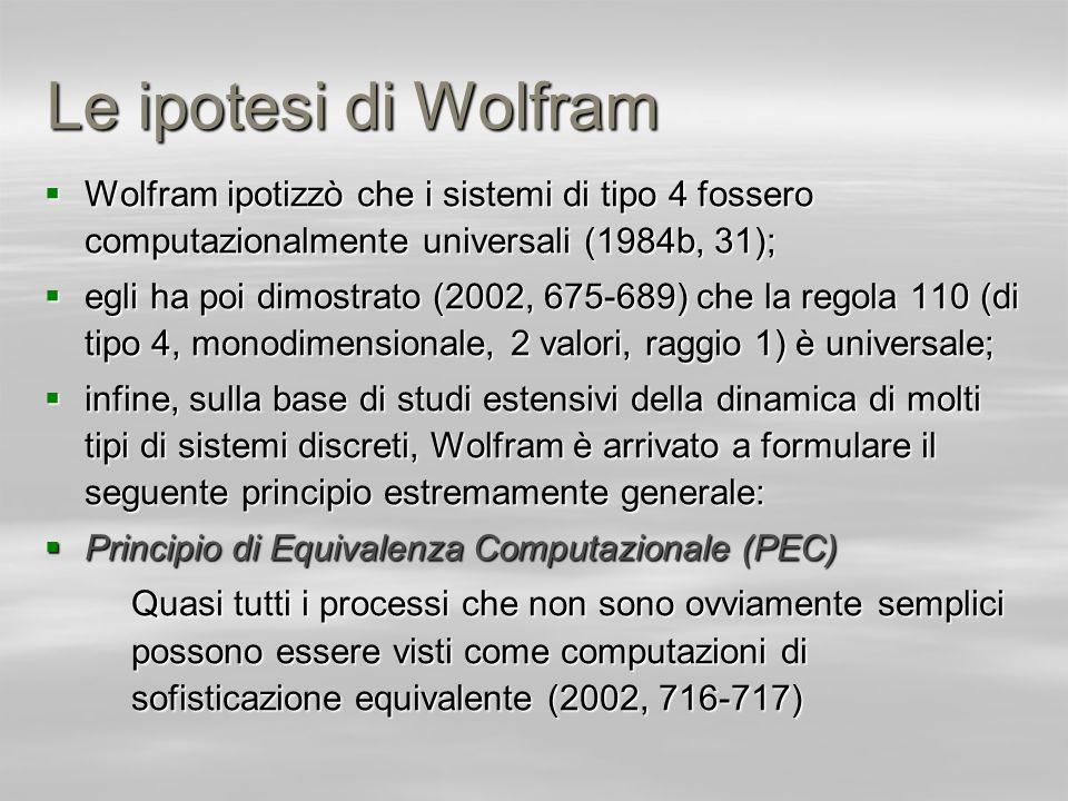 Le ipotesi di Wolfram Wolfram ipotizzò che i sistemi di tipo 4 fossero computazionalmente universali (1984b, 31);
