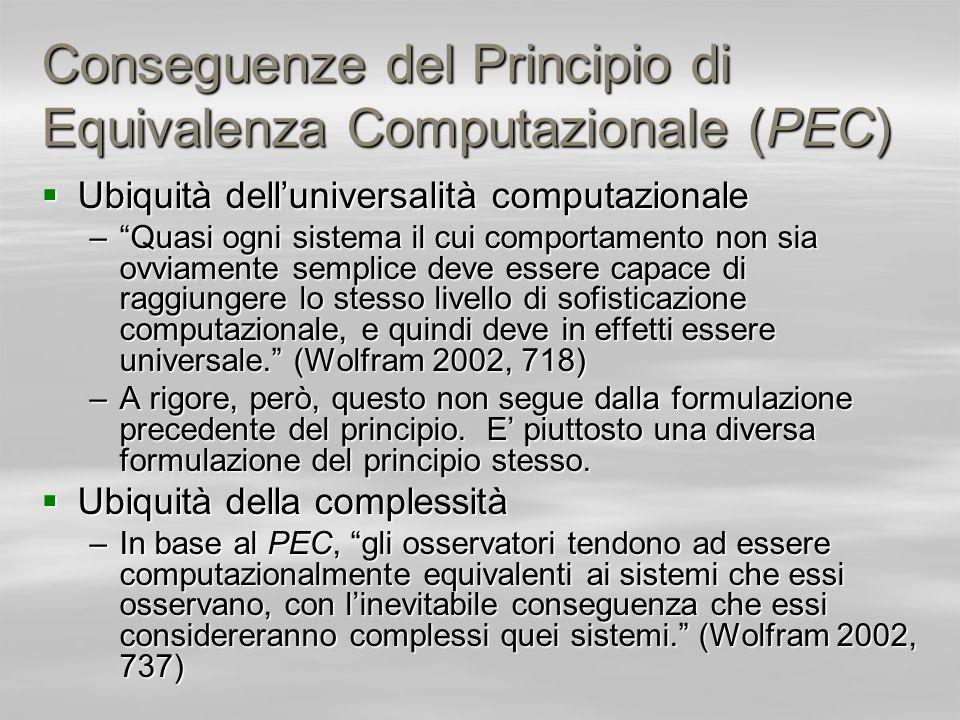 Conseguenze del Principio di Equivalenza Computazionale (PEC)