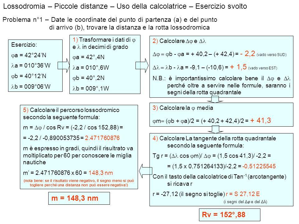 Lossodromia – Piccole distanze – Uso della calcolatrice – Esercizio svolto