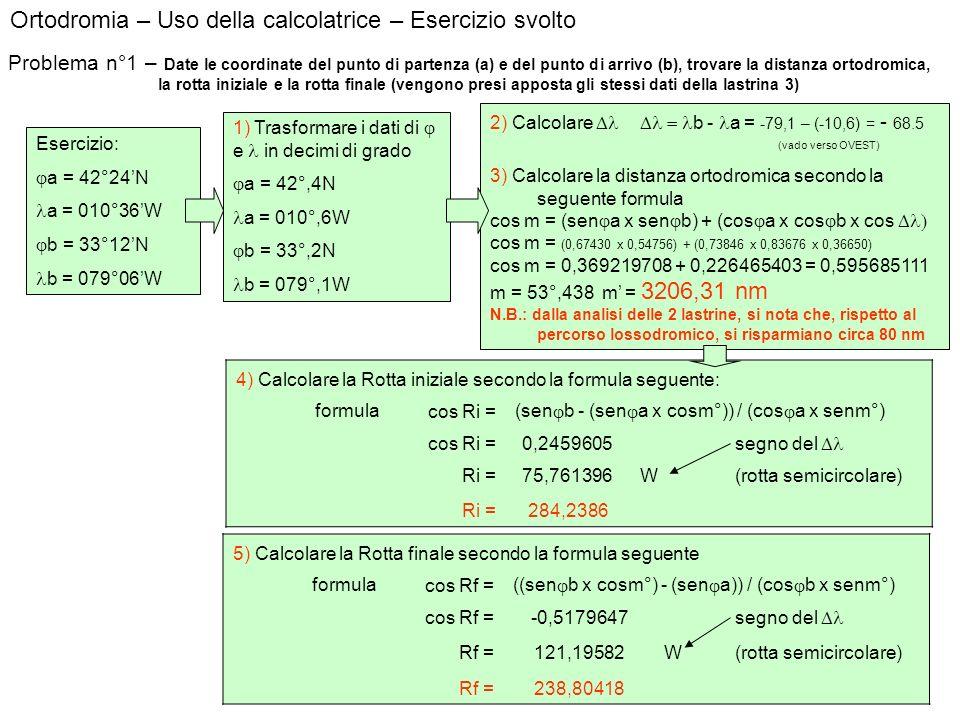 Ortodromia – Uso della calcolatrice – Esercizio svolto