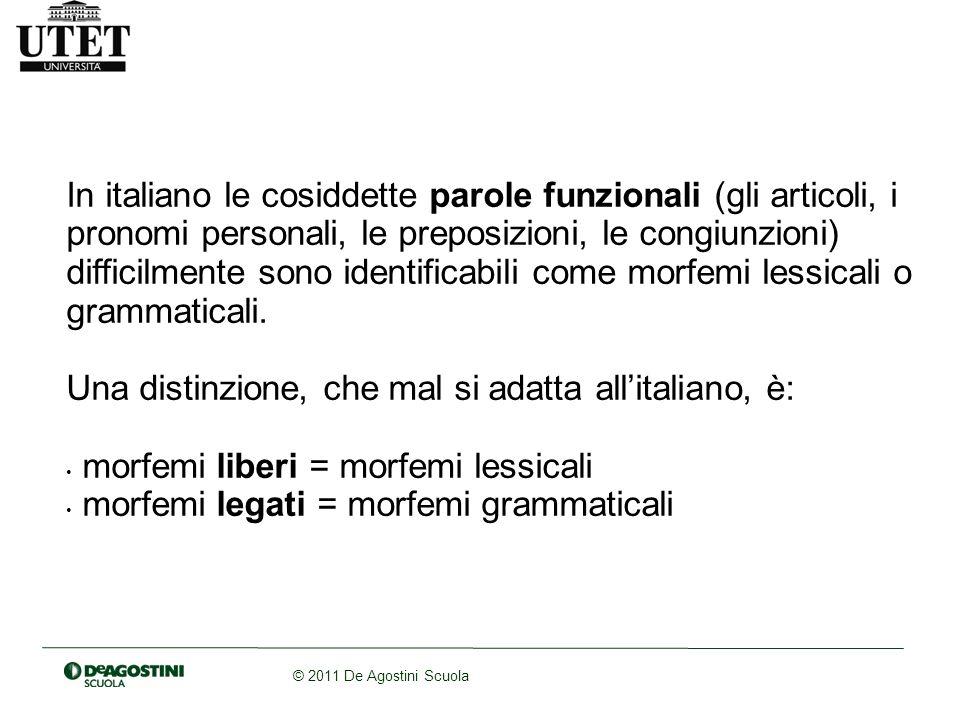 In italiano le cosiddette parole funzionali (gli articoli, i pronomi personali, le preposizioni, le congiunzioni) difficilmente sono identificabili come morfemi lessicali o grammaticali.
