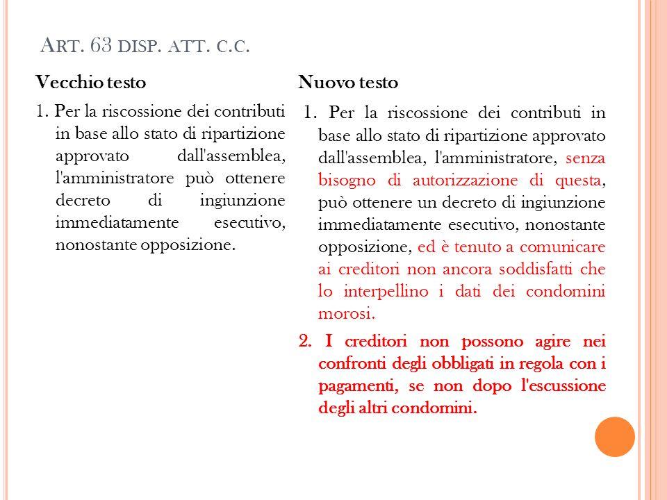 Art. 63 disp. att. c.c. Vecchio testo Nuovo testo