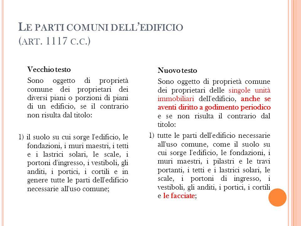 Le parti comuni dell'edificio (art. 1117 c.c.)