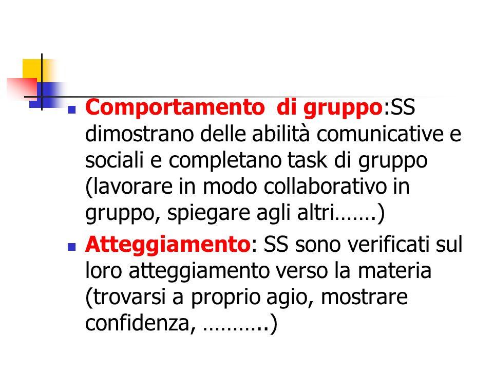 Comportamento di gruppo:SS dimostrano delle abilità comunicative e sociali e completano task di gruppo (lavorare in modo collaborativo in gruppo, spiegare agli altri…….)