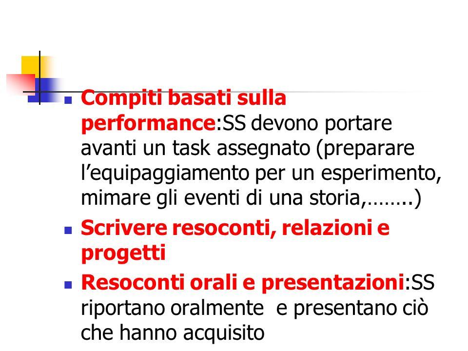 Compiti basati sulla performance:SS devono portare avanti un task assegnato (preparare l'equipaggiamento per un esperimento, mimare gli eventi di una storia,……..)