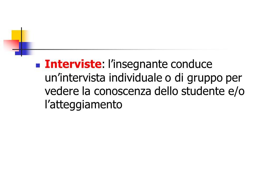 Interviste: l'insegnante conduce un'intervista individuale o di gruppo per vedere la conoscenza dello studente e/o l'atteggiamento