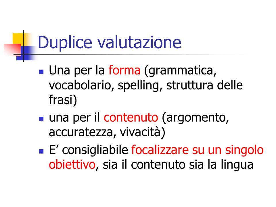 Duplice valutazione Una per la forma (grammatica, vocabolario, spelling, struttura delle frasi)