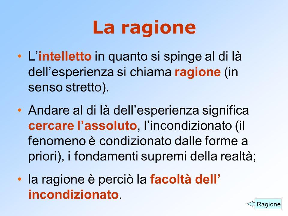 La ragione L'intelletto in quanto si spinge al di là dell'esperienza si chiama ragione (in senso stretto).