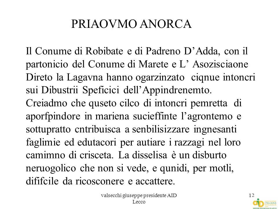 valsecchi giuseppe presidente AID Lecco