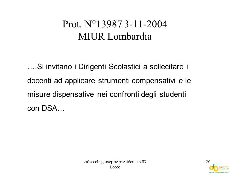 Prot. N°13987 3-11-2004 MIUR Lombardia