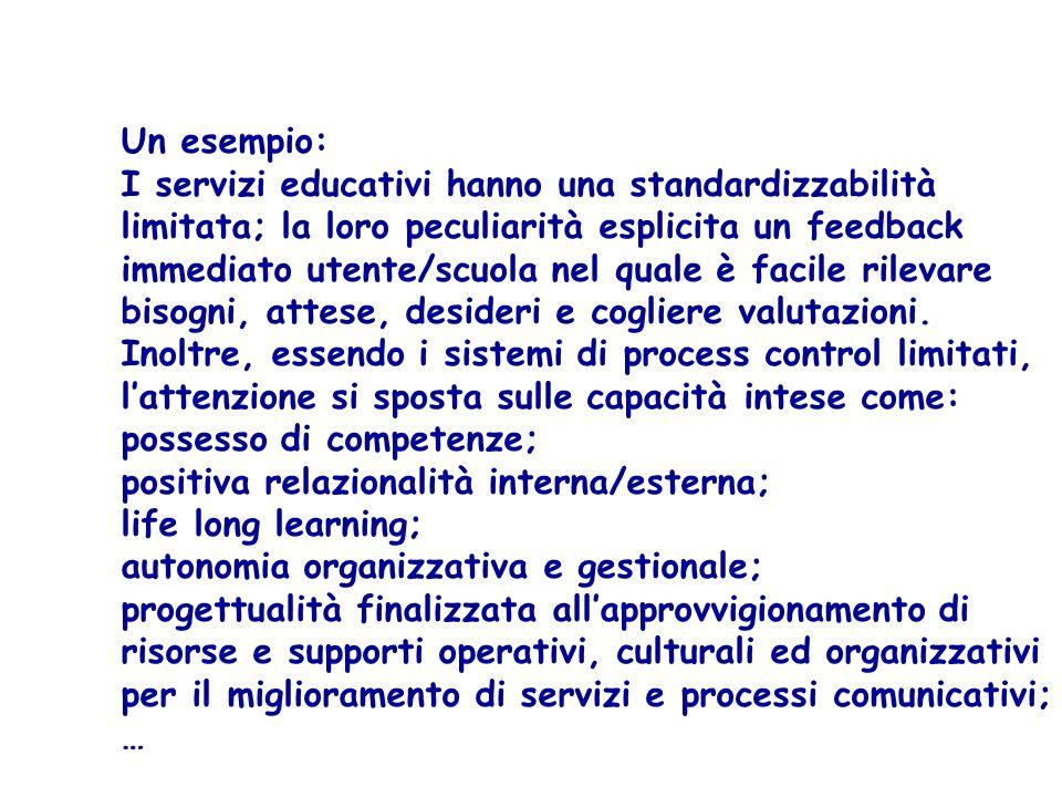 Un esempio: I servizi educativi hanno una standardizzabilità. limitata; la loro peculiarità esplicita un feedback.