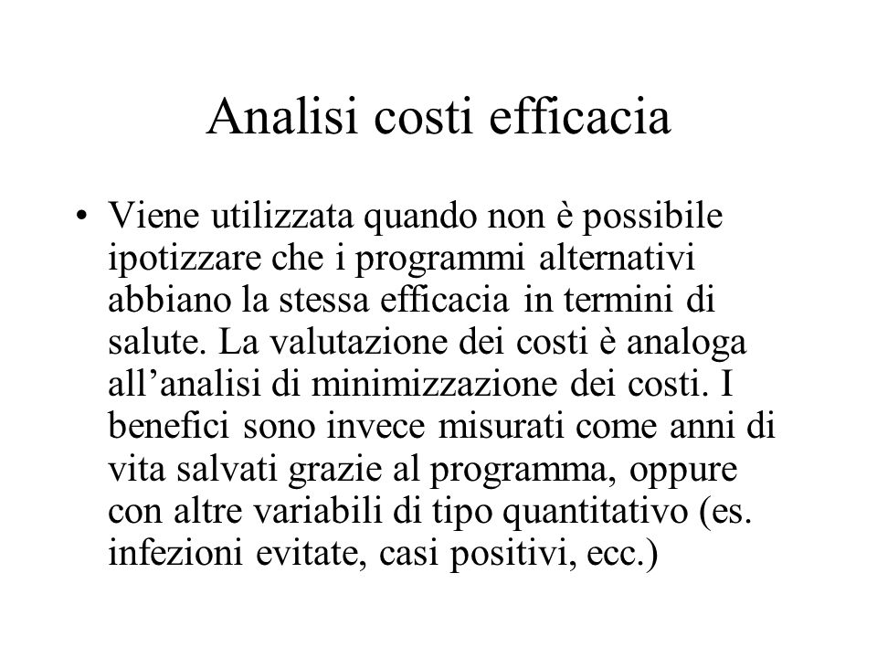 Analisi costi efficacia