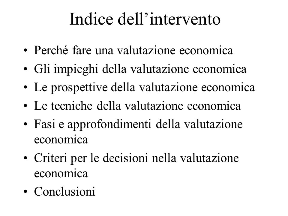 Indice dell'intervento