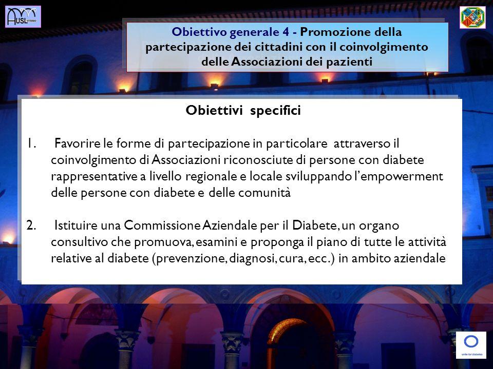 Obiettivo generale 4 - Promozione della partecipazione dei cittadini con il coinvolgimento delle Associazioni dei pazienti
