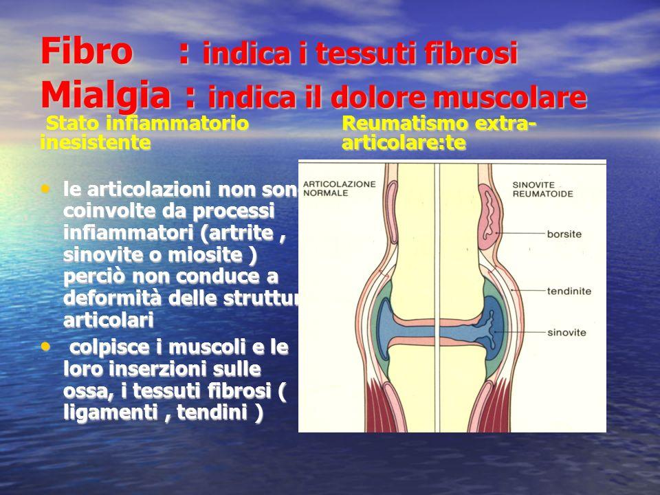 Fibro : indica i tessuti fibrosi Mialgia : indica il dolore muscolare
