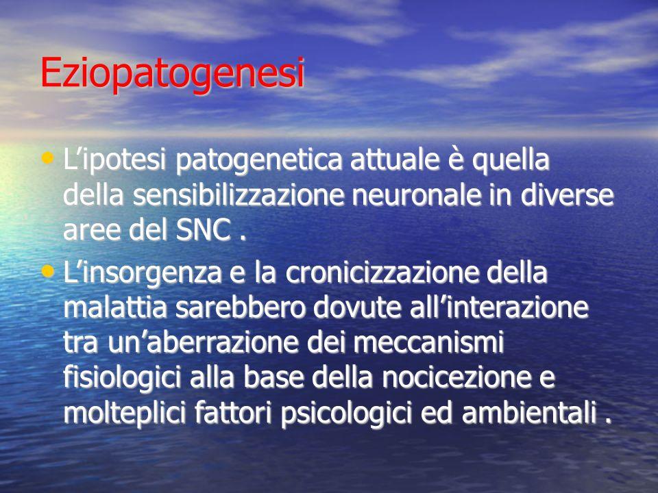 Eziopatogenesi L'ipotesi patogenetica attuale è quella della sensibilizzazione neuronale in diverse aree del SNC .
