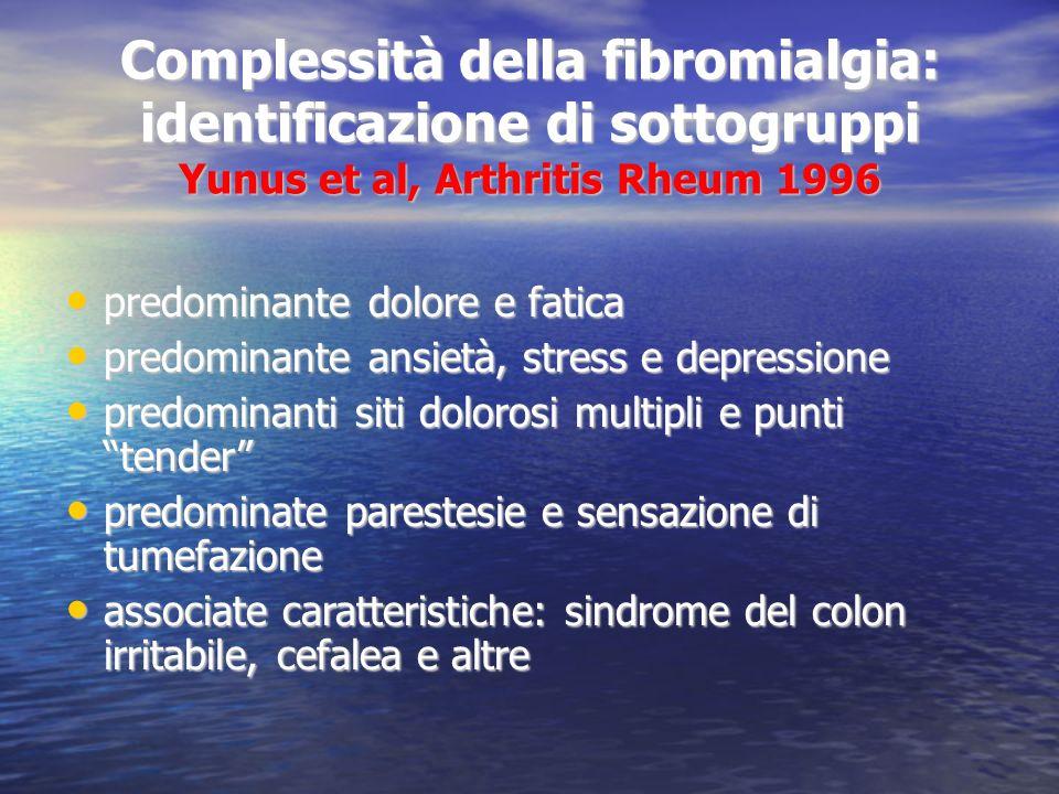 Complessità della fibromialgia: identificazione di sottogruppi Yunus et al, Arthritis Rheum 1996