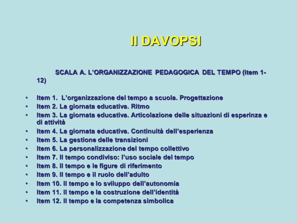 Il DAVOPSI SCALA A. L'ORGANIZZAZIONE PEDAGOGICA DEL TEMPO (item 1-12)