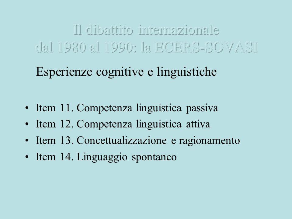Il dibattito internazionale dal 1980 al 1990: la ECERS-SOVASI