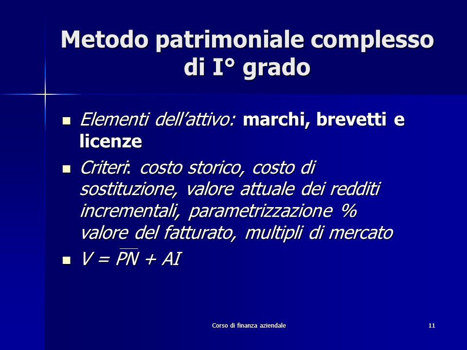 Metodo patrimoniale complesso di I° grado