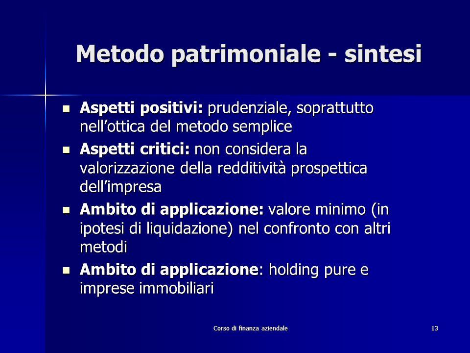 Metodo patrimoniale - sintesi