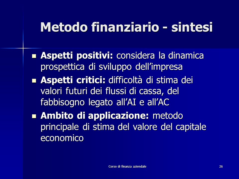 Metodo finanziario - sintesi