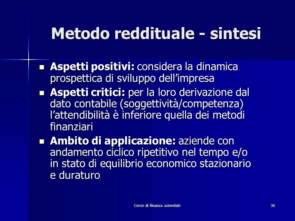 Metodo reddituale - sintesi