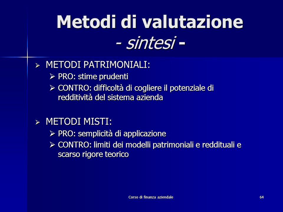 Metodi di valutazione - sintesi -