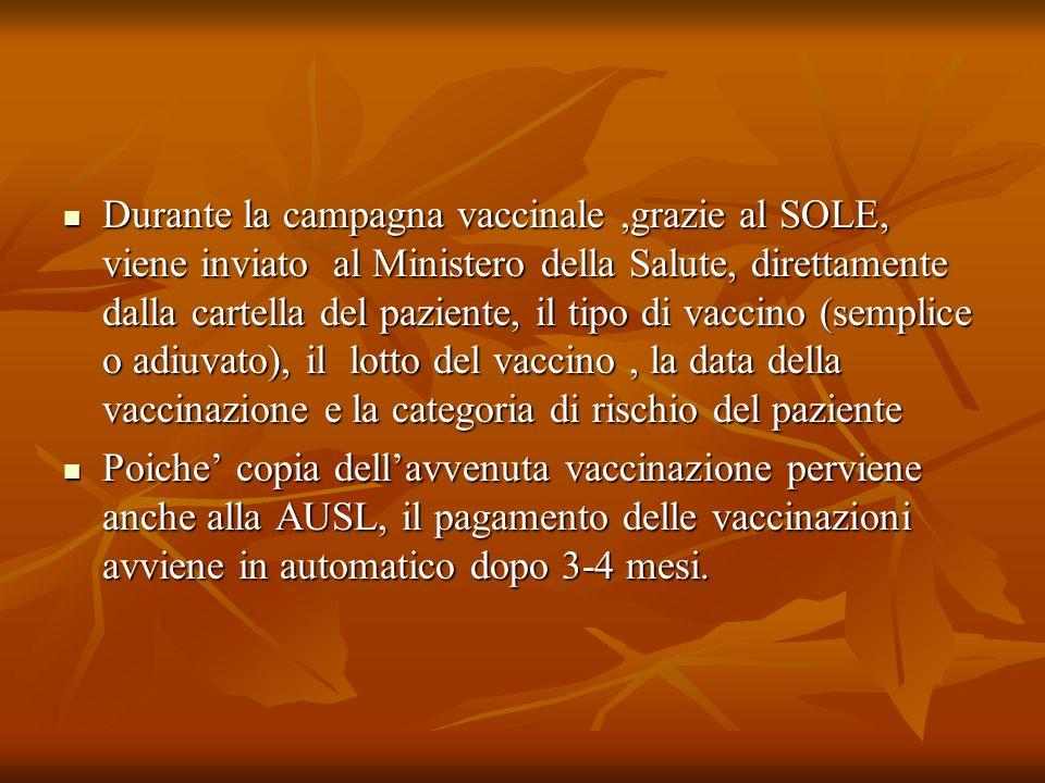 Durante la campagna vaccinale ,grazie al SOLE, viene inviato al Ministero della Salute, direttamente dalla cartella del paziente, il tipo di vaccino (semplice o adiuvato), il lotto del vaccino , la data della vaccinazione e la categoria di rischio del paziente
