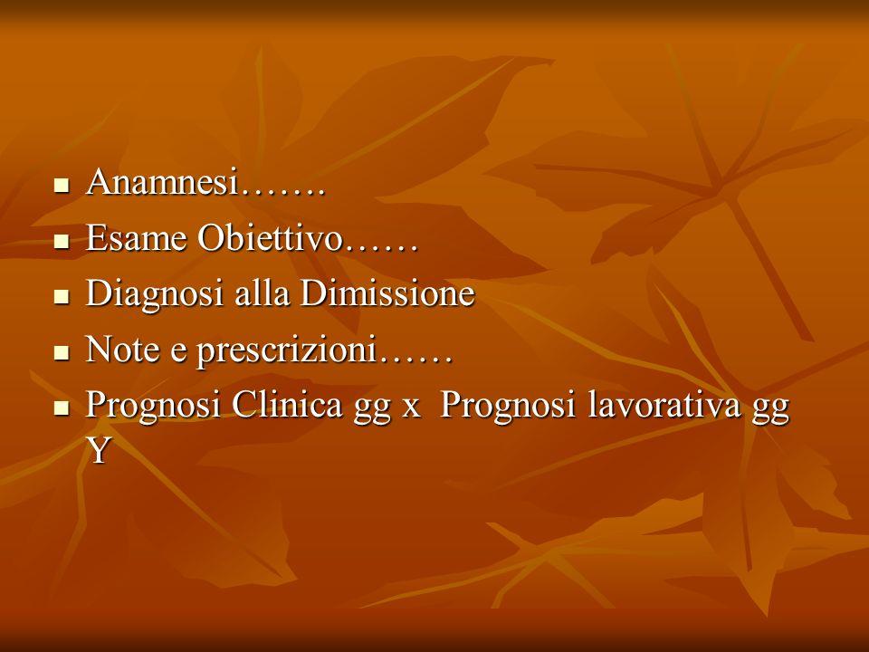 Anamnesi……. Esame Obiettivo…… Diagnosi alla Dimissione.