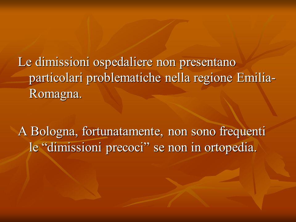 Le dimissioni ospedaliere non presentano particolari problematiche nella regione Emilia-Romagna.