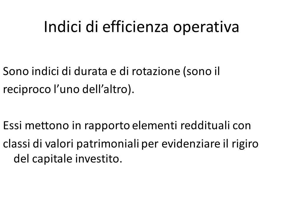Indici di efficienza operativa