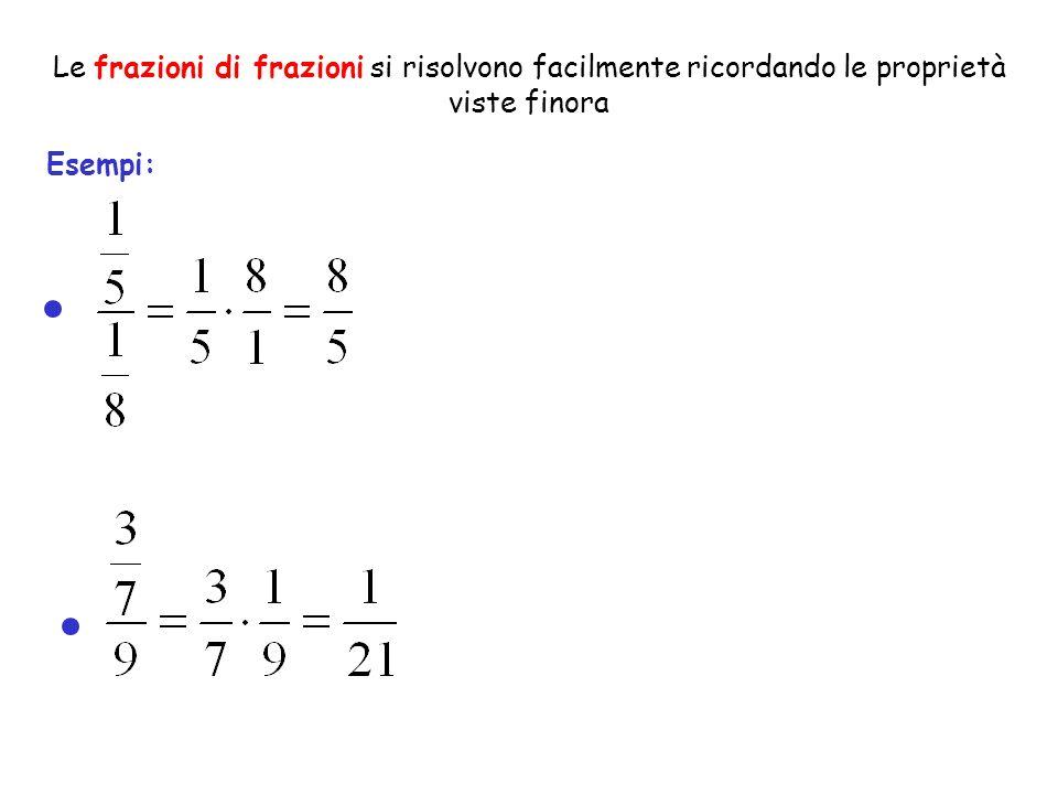 Le frazioni di frazioni si risolvono facilmente ricordando le proprietà viste finora