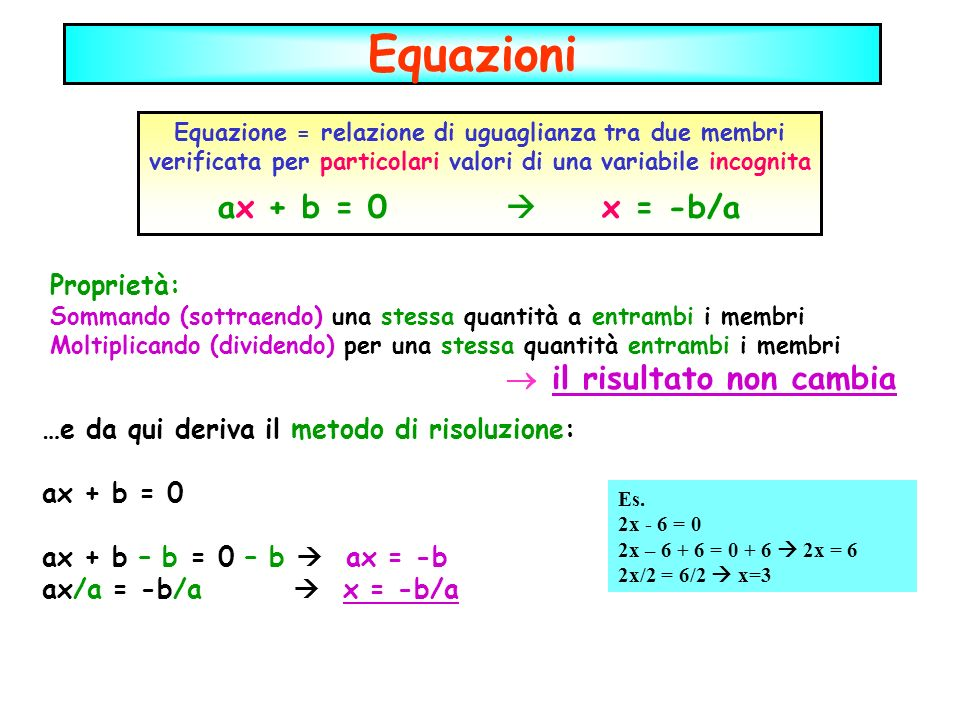 Equazioni ax + b = 0  x = -b/a Proprietà: