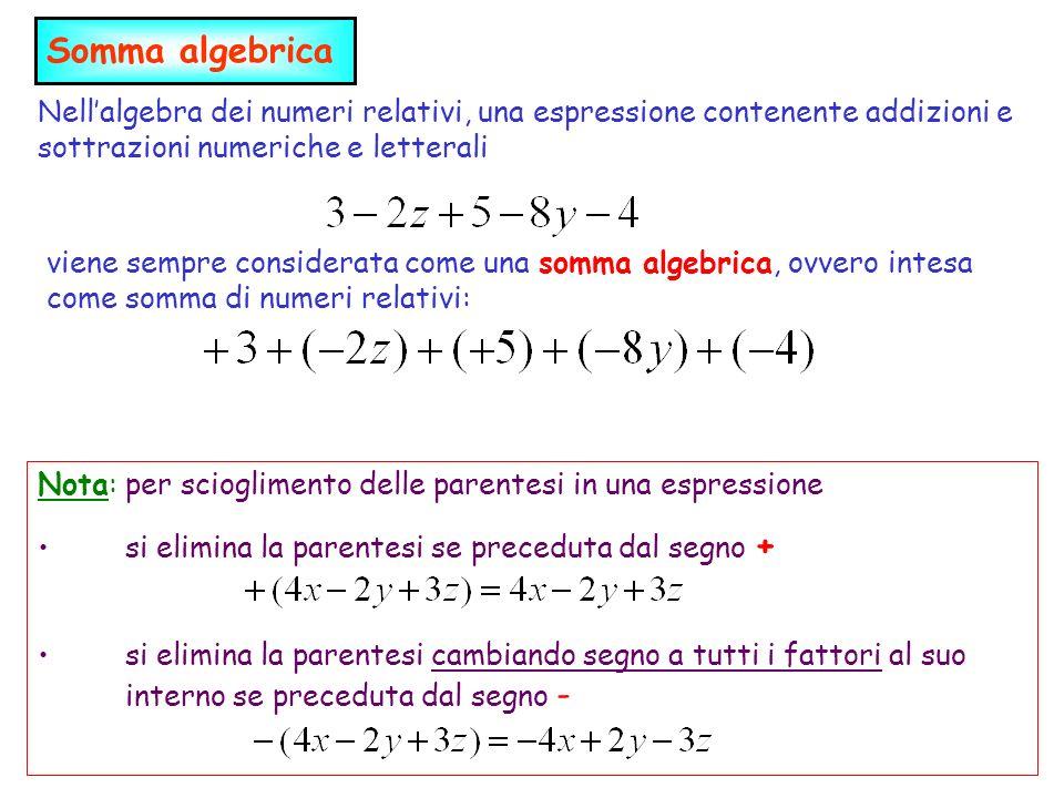 Somma algebrica Nell'algebra dei numeri relativi, una espressione contenente addizioni e sottrazioni numeriche e letterali.