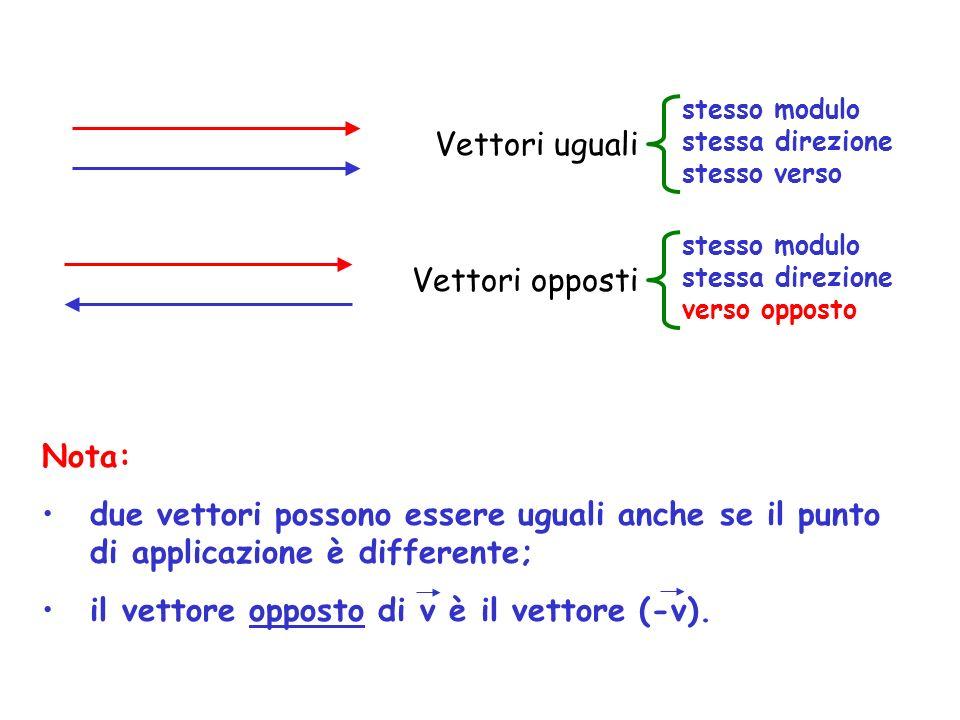 il vettore opposto di v è il vettore (-v).