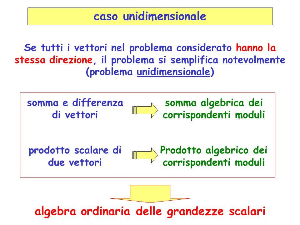 caso unidimensionale algebra ordinaria delle grandezze scalari