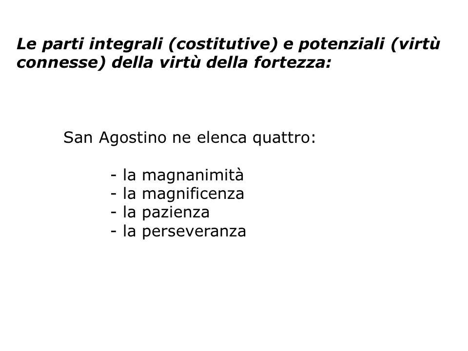 Le parti integrali (costitutive) e potenziali (virtù connesse) della virtù della fortezza: