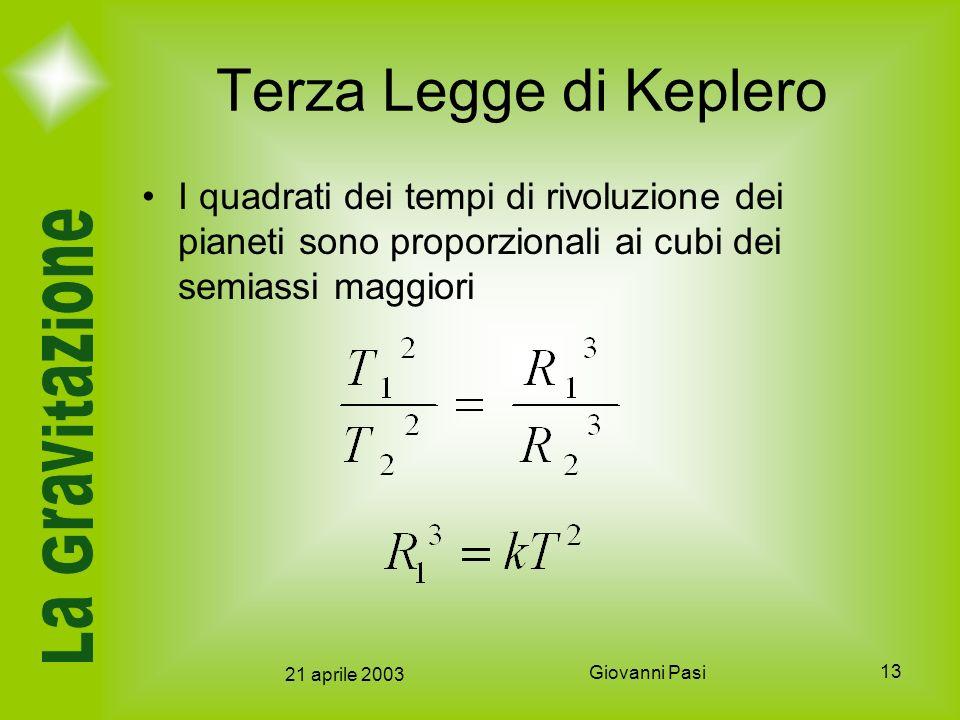 Terza Legge di Keplero I quadrati dei tempi di rivoluzione dei pianeti sono proporzionali ai cubi dei semiassi maggiori.